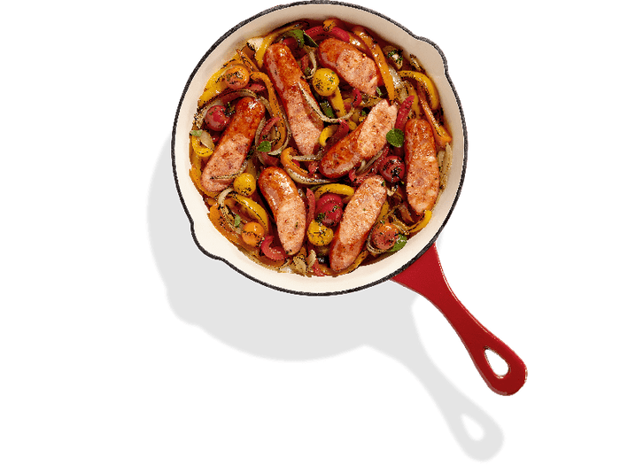 Aidells Cajun Style Andouille Sausage Skillet with Mixed Peppers, Onions & Blistered Tomatoes
